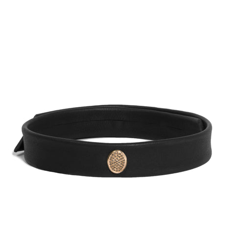 Leather Snap Choker with Micro Pave Face Oval Shape