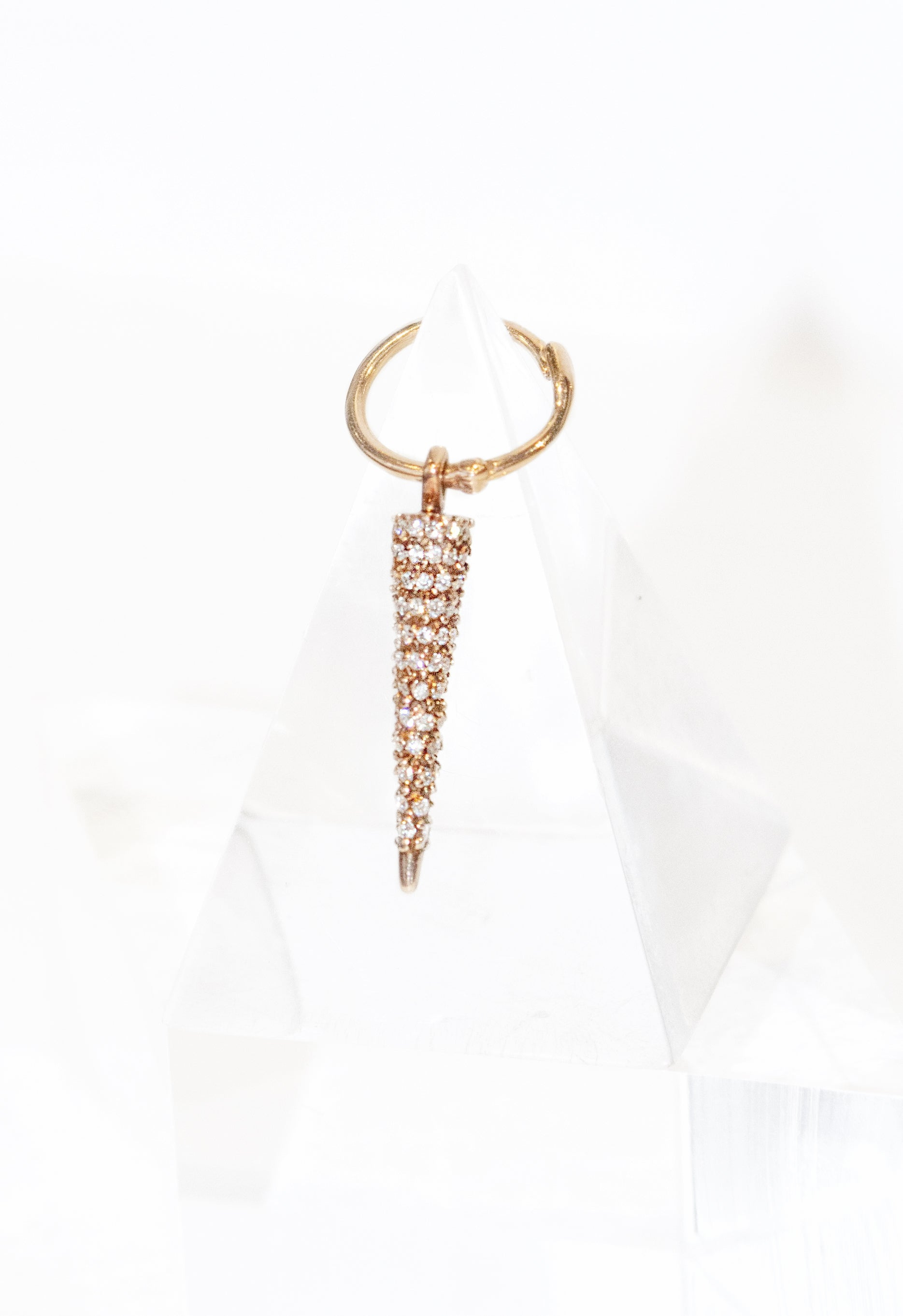 Micro Pave 92 Diamond Cone Spike Charm on 12mm Hoop Single Earring