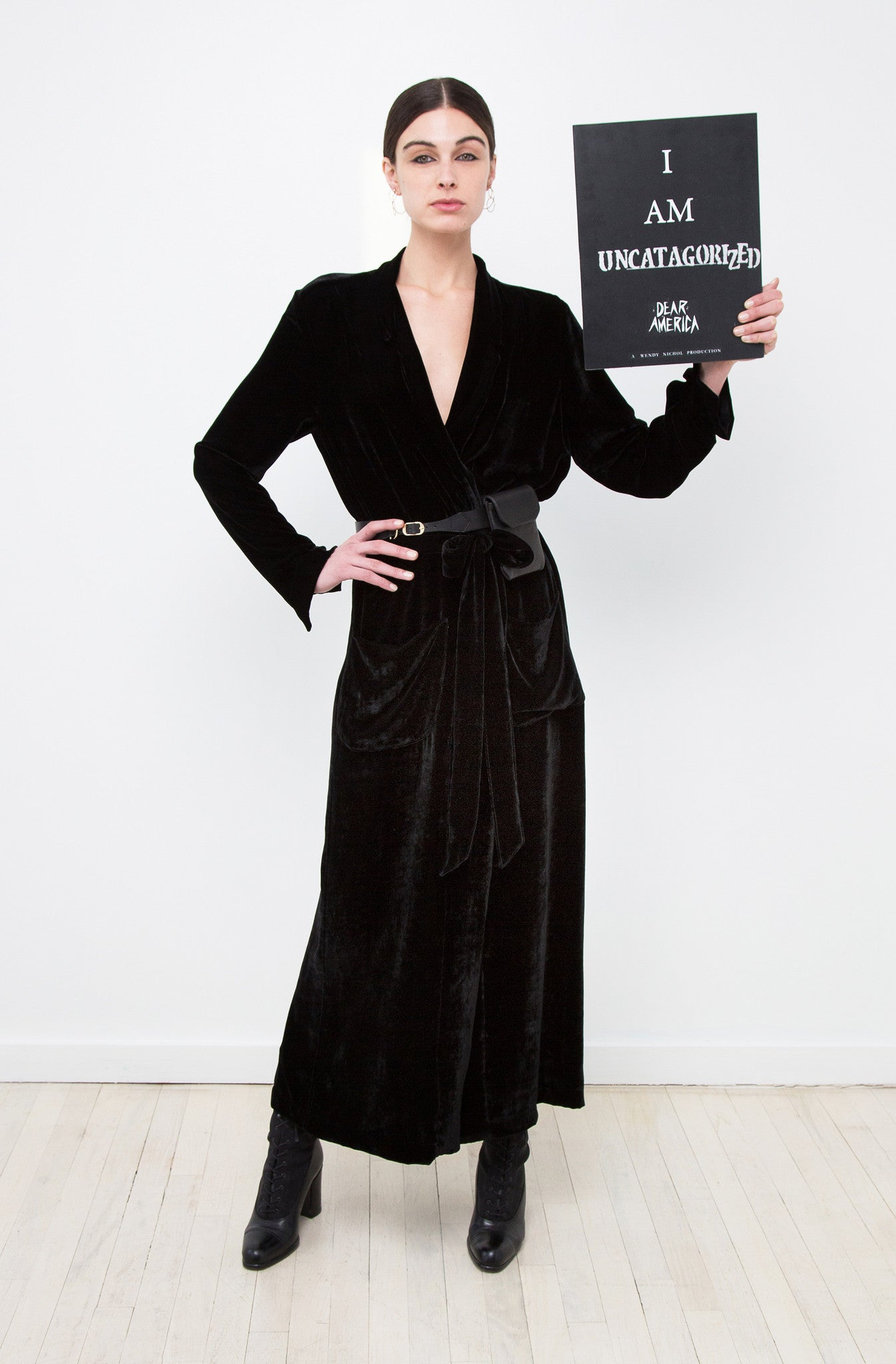 Mariah Strongin IMG Model Wendy Nichol AW17 Clothing Fashion Anti Fascist Runway Show Dear America Handmade in NYC New York City Protest March I AM Black Silk Velvet Long Duster Robe Jacket Coat large pockets