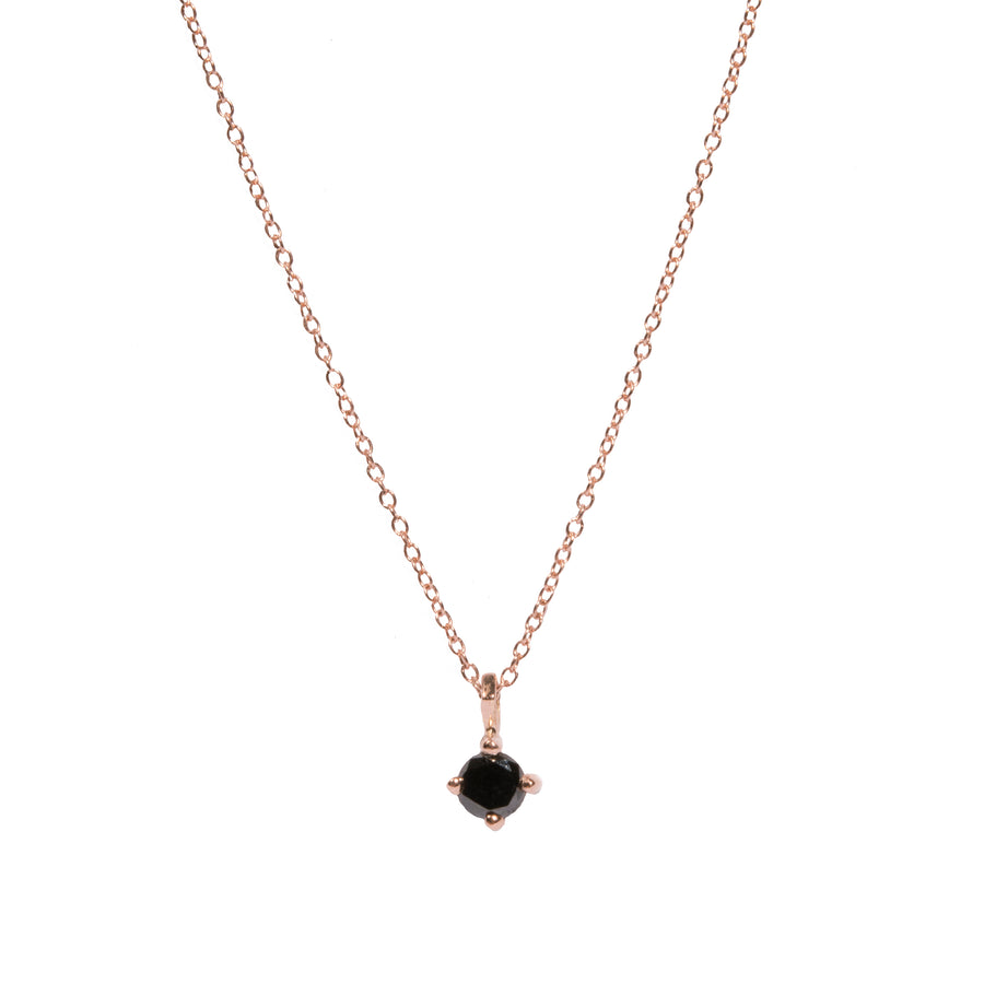 4mm Black Diamond Pendant Necklace