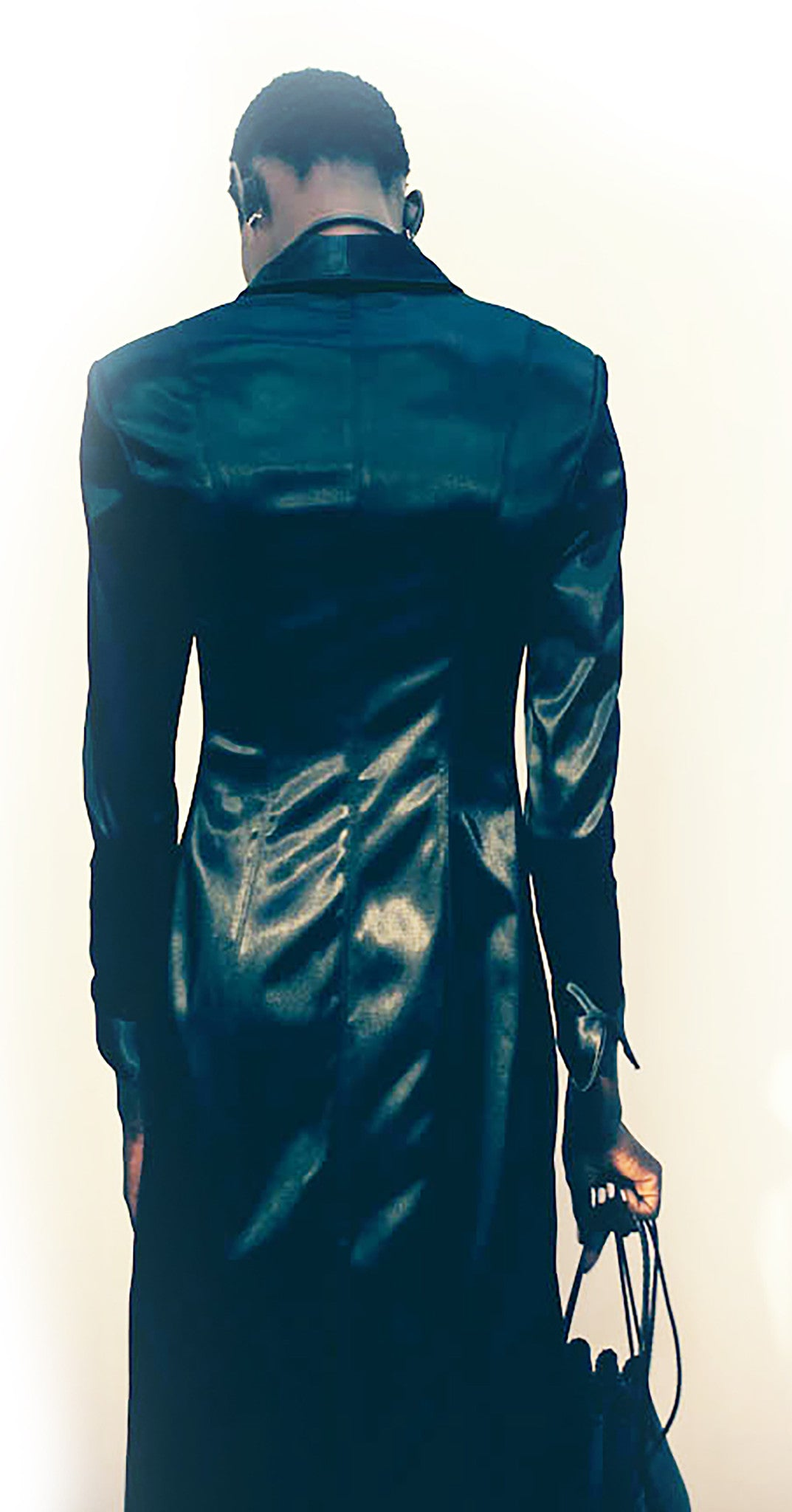 Ajak Deng IMG Mode Silk Satin Long Tuxedo Jacket & Black Sheer french Lace Half Slip Skirt Wendy Nichol Clothing Fashion designer Handmade in NYC custom tailoring Fashion ready to wear show SS15