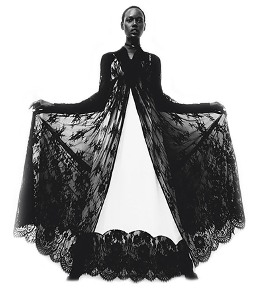 Ajak Deng IMG Model Black French Lace Empire Waist Coat Dress Wendy Nichol Clothing Fashion Designer Runway Show Handmade in NYC New York City SS15 Space Master Bespoke Made to Order Made to Measure Custom Tailoring Black Sheer Cut out Lace Long Sleeve Deep V Plunge Neck Empire Waist Dress Coat Wedding Bride cover Mother of the Bride Summer Spring
