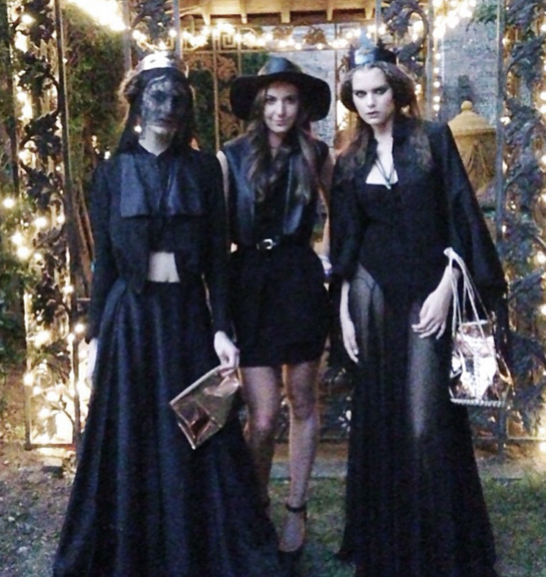 Ali Aliana Lohan Lindsay Lohan Sister Solveig IMG Model Wendy Nichol First Fashion Runway Show SS14 Saints of the Zodiac Astrological Sign Pisces Fringe Cape Kimono Jacket Silk Tulle Sheer Black Veil Leather Queen Crown Elizabethan Victorian Gothic Sea Witch High Priestess Copper Metallic Bullet Bucket Bag Handmade in NYC New York City Bespoke Made to Measure Order Custom Tailoring