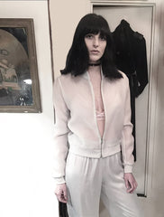 Ali Aliana Lohan Lindsay Sister Model Wendy Nichol Clothing Designer Made to Order Custom Tailoring Made to Measure Handmade in NYC New York City Fashion Runway Show AW16 13 Incarnations White Sheer Silk Club Bomber Jacket w. White Ghost & White Silver Gray Grey Silk Ruche Ankle Pants High Waist Waisted Skinny pajama sweatpants