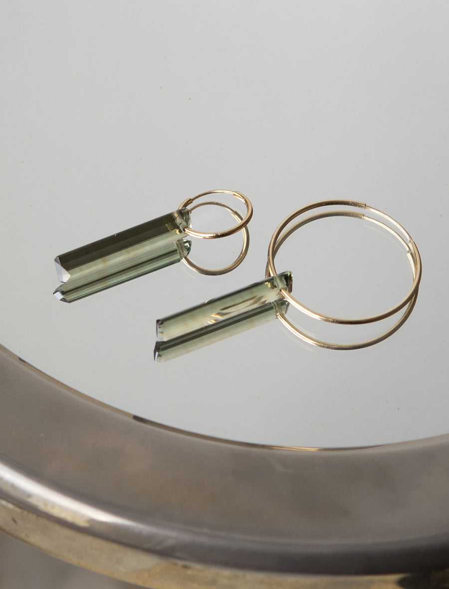 Long Emerald Cut Green Amethyst on Hoop Earring