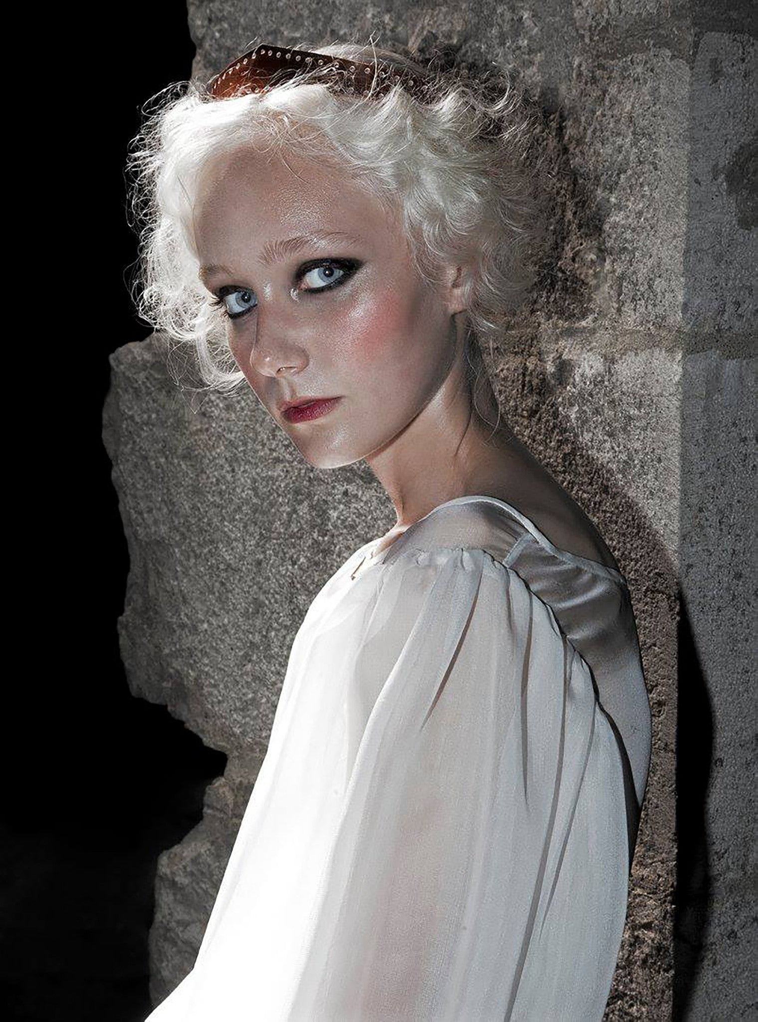 Juliette Fazekas IMG Model Wendy Nichol Clothing Designer Ready to Wear Fashion Runway Show SS14 Saints of the Zodiac Astrological Sign Aries the Ram Sheep Handmade in NYC White Layered Silk Chiffon Puff Sleeve Blouse Long Train Skirt Copper Patent Leather Crow Circle Canteen Bag Made to Order Measure Custom Tailoring Color Fabric