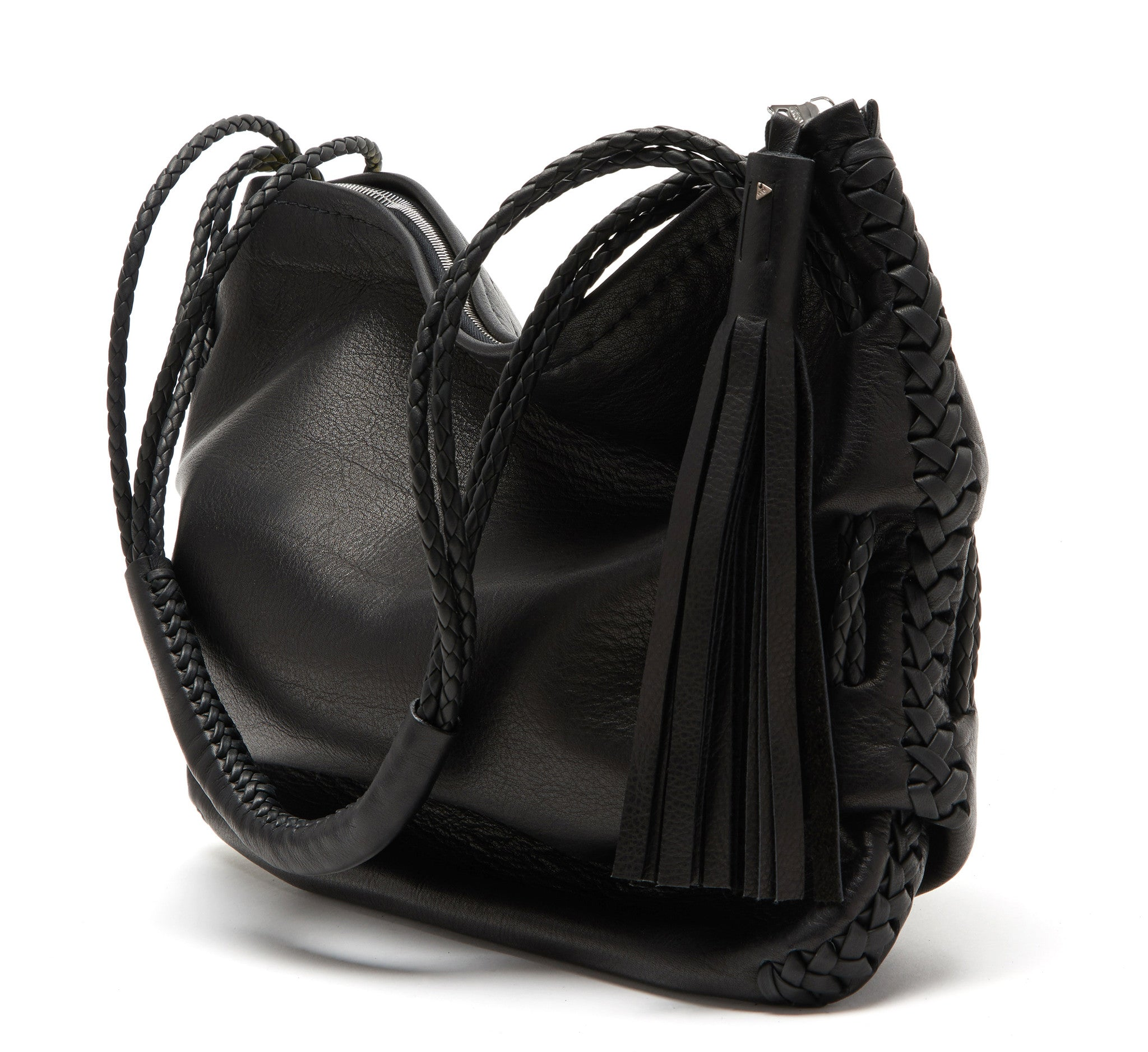 Athena Ruche Bag Black Leather Wendy Nichol Handbag Purse Designer Handmade in NYC New York City Braided Handles Shoulder Zip Zipper Interior Pocket Fringe Tassel Medium Size Soft Pouch Bag High Quality Leather