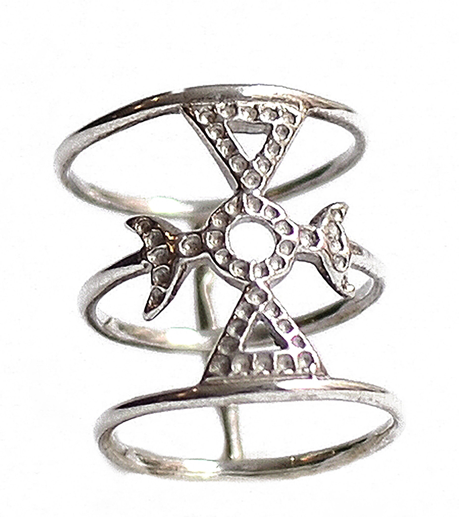 Auspicious Moon Ring Wendy Nichol Fine Jewelry Designer Barneys Barney's Handmade in NYC solid sterling Silver Mason Symbol Crescent Moon cut out triangle Cage Witch Magic Magick Ring