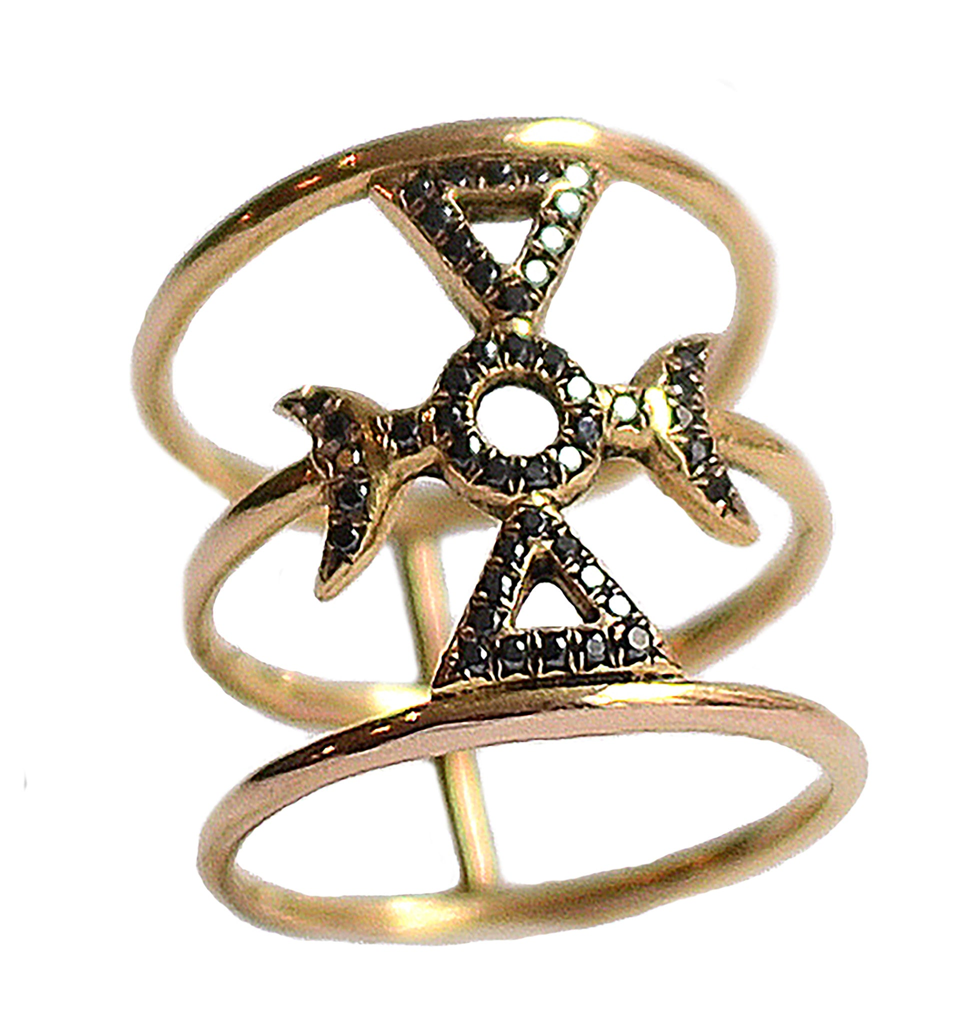 Auspicious Diamond Moon Ring Wendy Nichol Fine Jewelry Designer Mason Symbol solid 14k Gold Yellow Rose White Black Diamonds Handmade in NYC New York City Barneys Barney's Diamond Symbol Cage Magic Magick Witch Ring