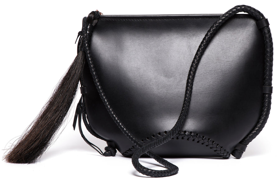 Black Leather Large Basket Whip Bag Wendy Nichol Handbags Handmade in NYC New York City Bullwhip Whip Bondage Strap Cross Body Horse Hair Tassel Large Fringe Tassel Zip Zipper Large Smooth High Quality Leather Handbag