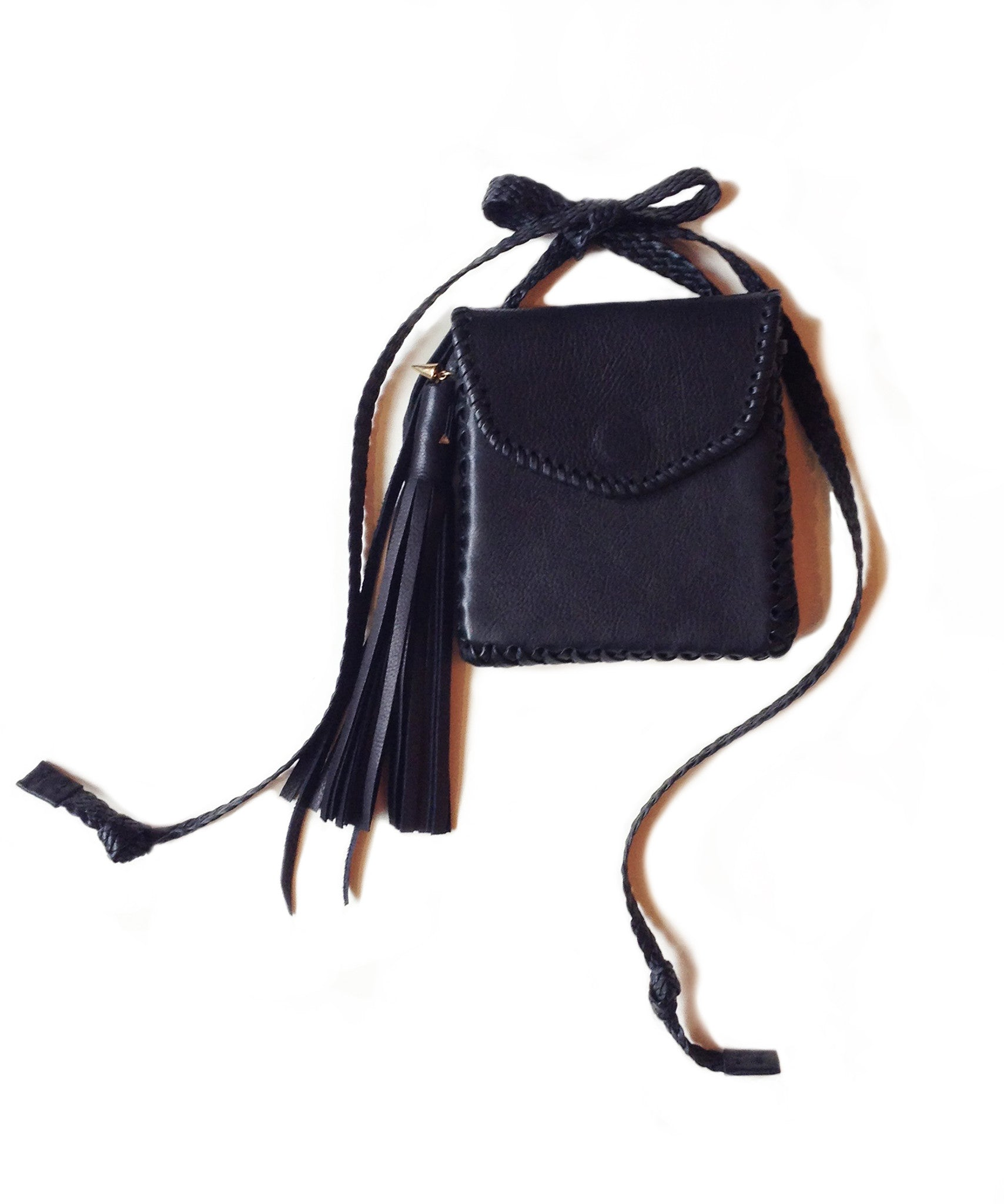 Little Sorel Whipstitch Belt Bag Black Leather Wendy Nichol Handbag Purse Designer Handmade in NYC New York City cross body pouch Essentials going out dance party clubbing wallet braided strap waist bag Envelope Flap Magnet Magnetic Whipstitch edge back pocket fringe Tassels adjustable strap High Quality Leather