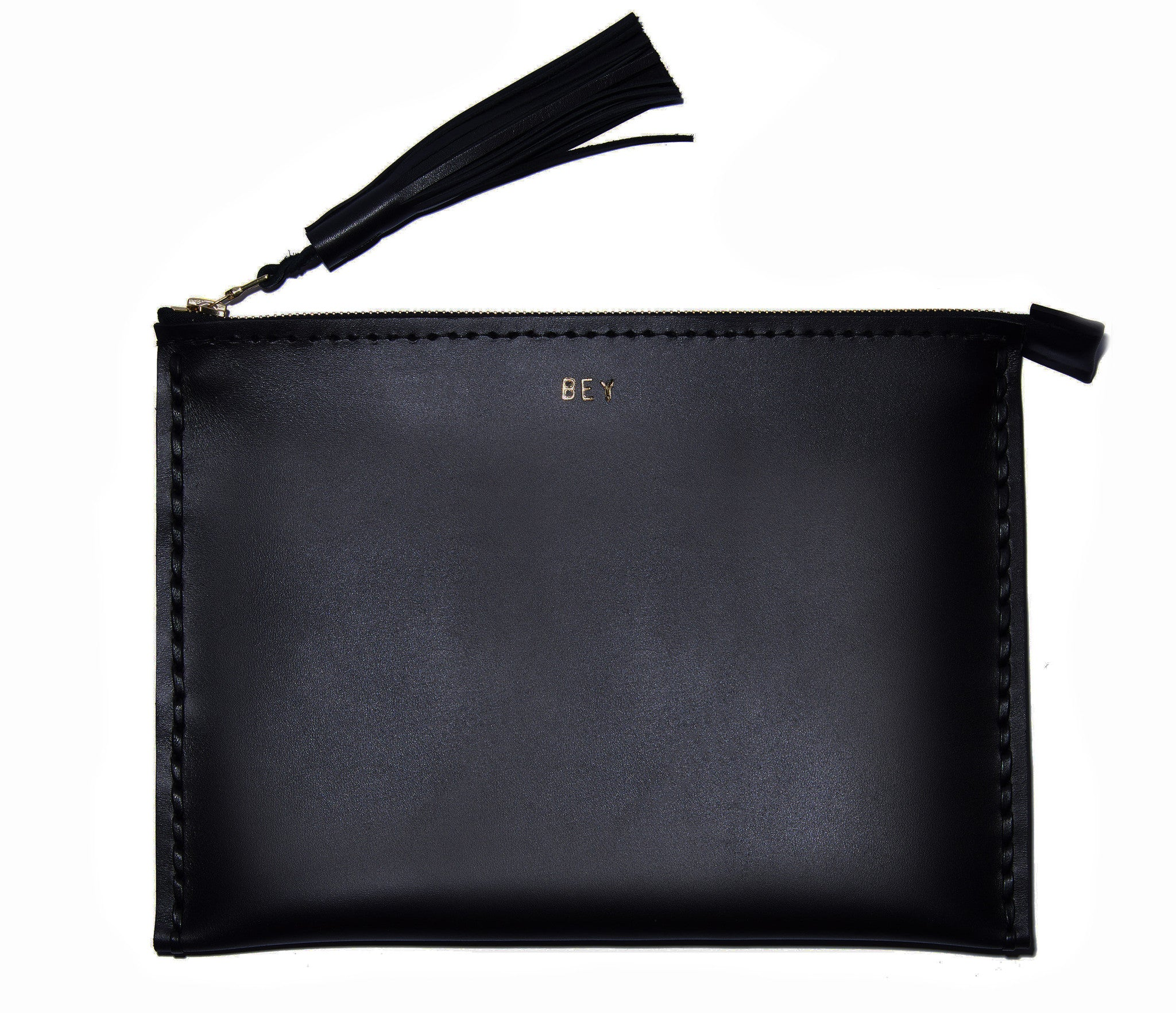 Leather Large Laced Clutch Pouch Custom Embossed Monogram wallet Wendy Nichol handbags Handmade in NYC