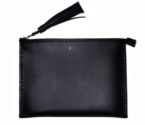 Bey Leather Large Laced Clutch Pouch Custom Embossed Initial Letter Monogram Card Phone Wallet Clutch Wendy Nichol Designer Purse handbags Handmade in NYC New York City Zip Zipper Pouch Smooth Black High Quality Leather Fringe Tassel Gold Silver Foil Beyonce Queen B Bey Bey