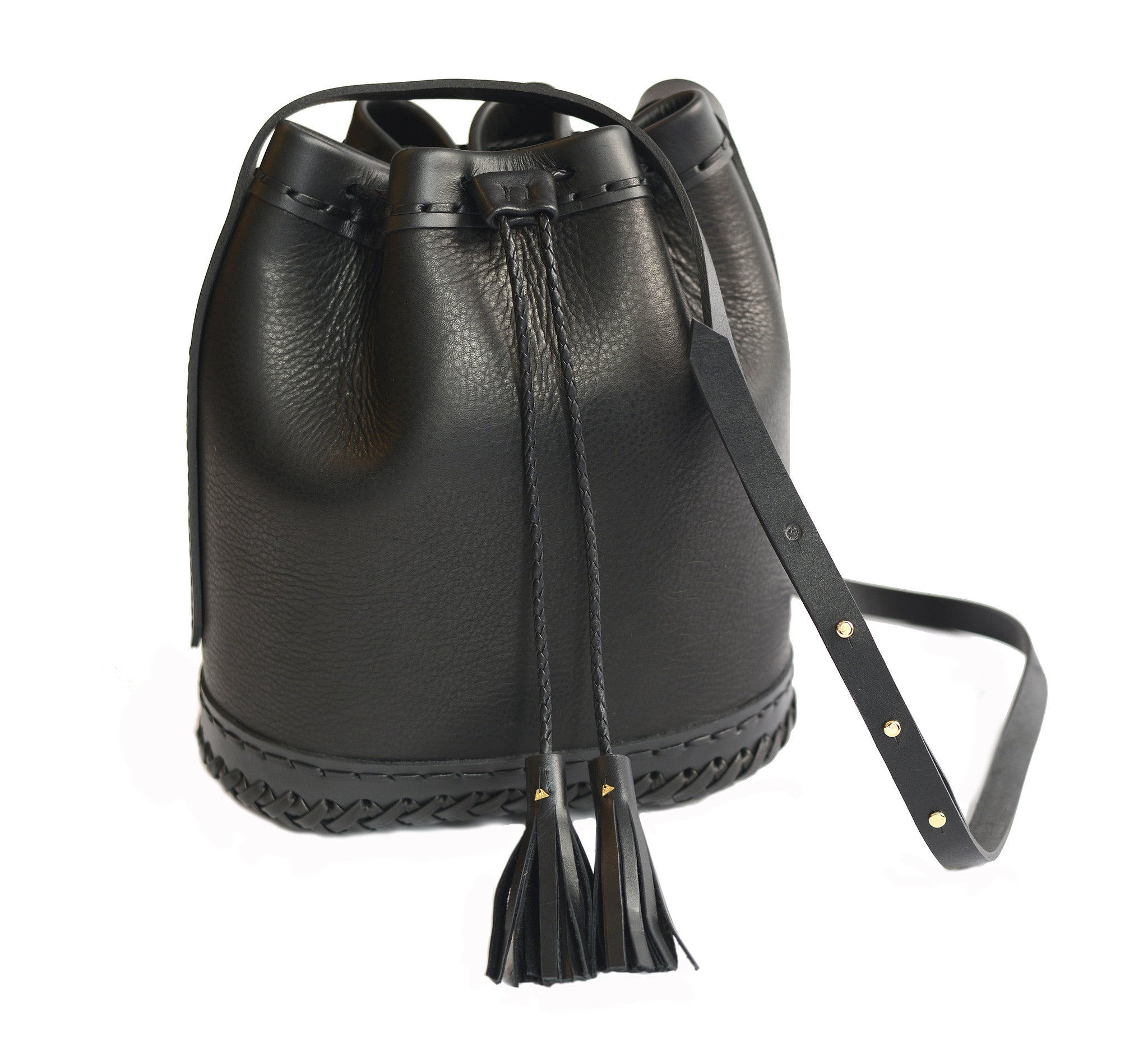 Black Large Carriage Bag Wendy Nichol Leather Handbag Purse Designer Handmade in NYC New York City Large Bucket Bag Cross body Adjustable Durable Strap fringe tassel draw string Drawstring Pouch High Quality Black Leather