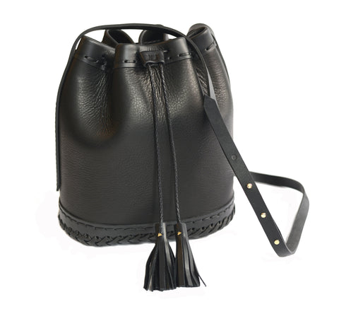 Black Large Carriage Bag Wendy Nichol Leather Handbag Purse Designer Handmade in NYC Bucket Bag