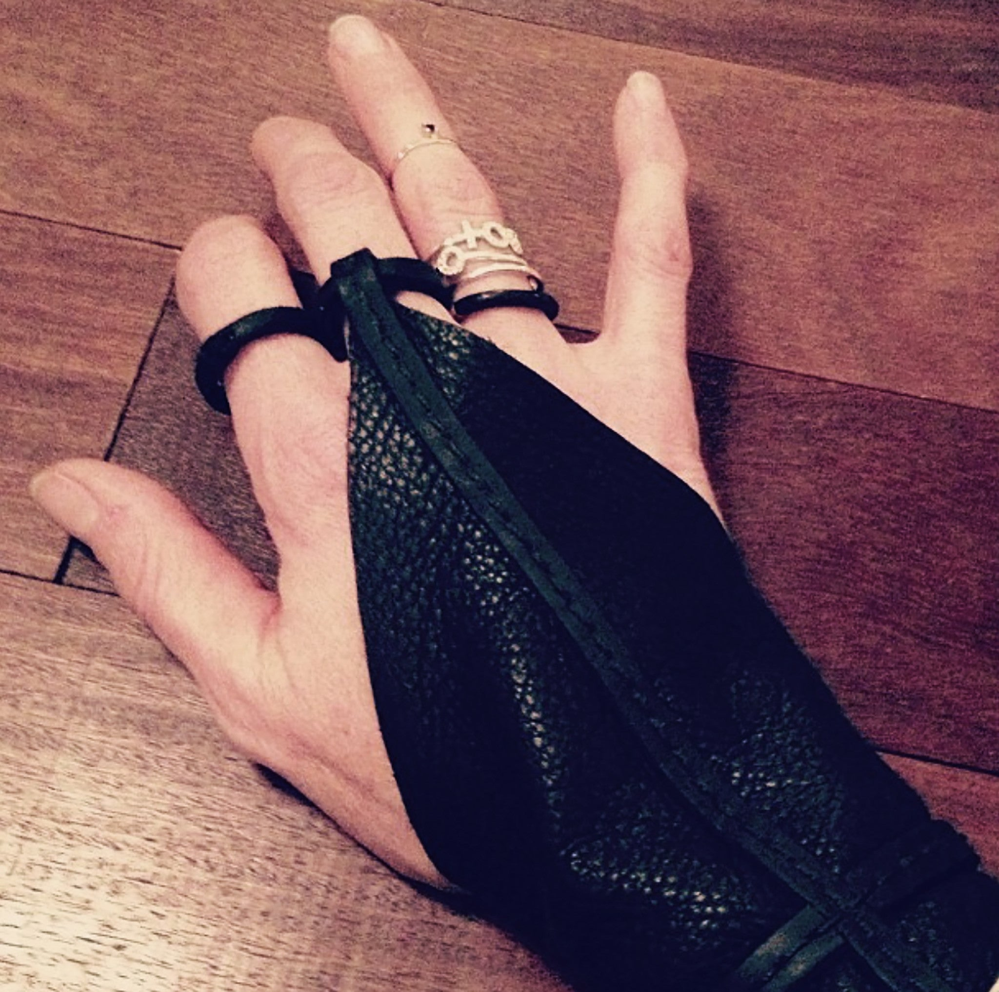 Single Finger Cross Leather Gloves Wendy Nichol Designer Handmade in NYC New York City black Leather Fingerless Smoker Driving Gloves Archery Archer Witch Vampire Dracula Glove Gloves