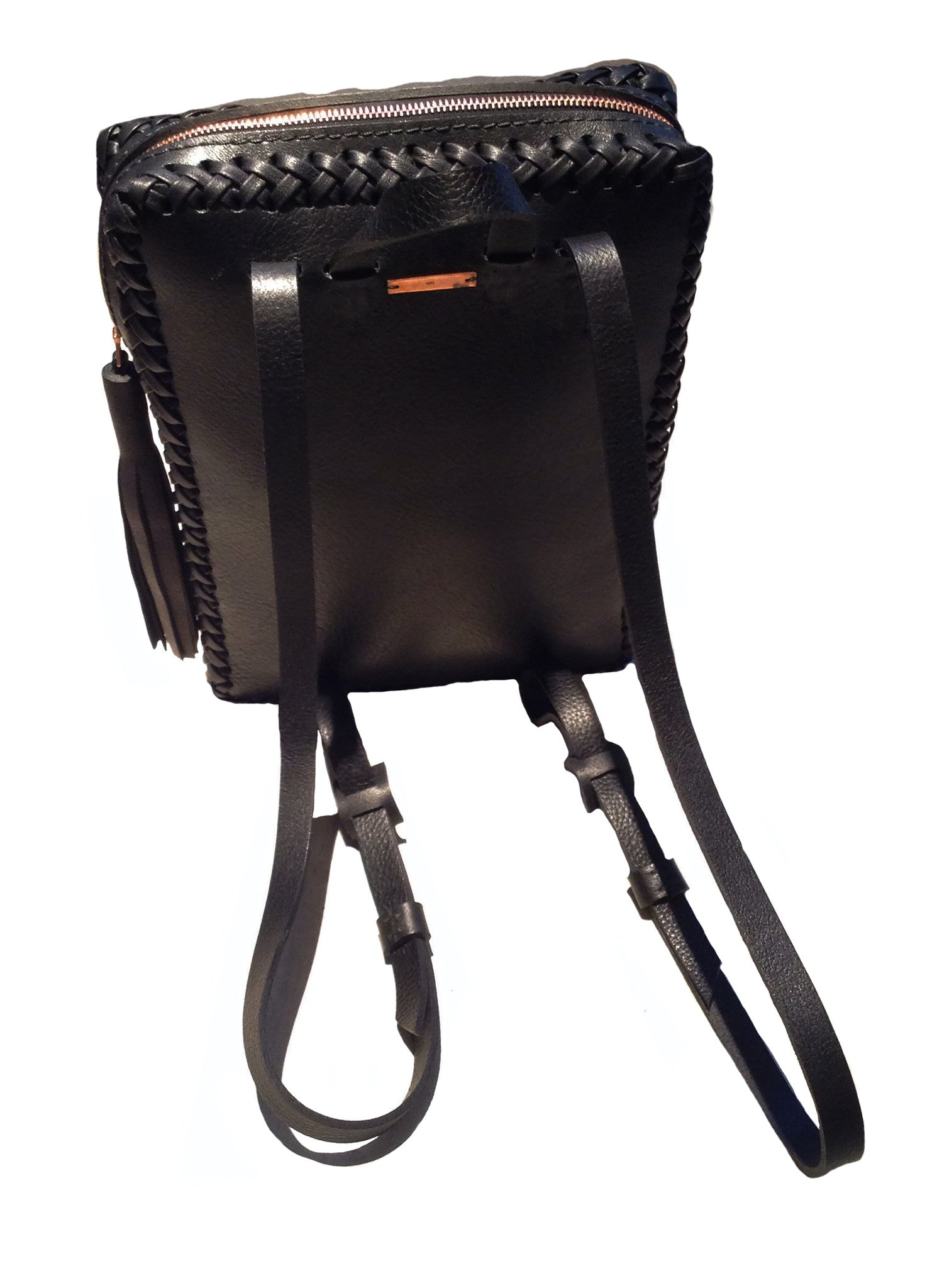 Black Leather Folio Backpack Wendy Nichol Handbag Purse Designer Handmade in NYC New York City Rectangle Square Braided Structured Structural French Work School Computer Backpack Travel Essentials Essential Luggage Fringe Tassel Adjustable Straps Zip Zipper High Quality Leather