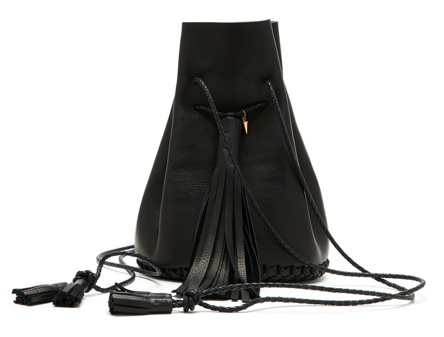 Leather Black Signature Classic Bullet Bag Wendy Nichol Handmade in NYC New York City Leather Drawstring Bucket Pouch Purse Handbag Large Fringe Tassel Custom Made to Order