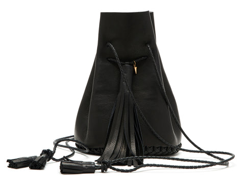 Leather Black Signature Classic Bullet Bag Wendy Nichol Handmade in NYC Leather Bucket Handbag