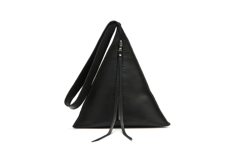 Black Leather Devil Star Pyramid Triangle Handbag wristlet Wendy Nichol Bag Purse Designer Handmade in NYC New York City High Quality Leather Wristlet Clutch Egyptian Triangle Pyramid Purse Handbag