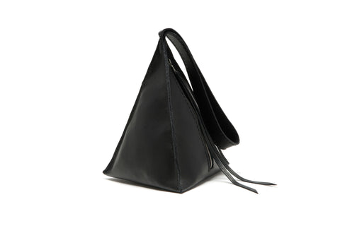 Black Leather Devil Star Pyramid Triangle Handbag wristlet Wendy Nichol Bag Purse Designer Handmade in NYC