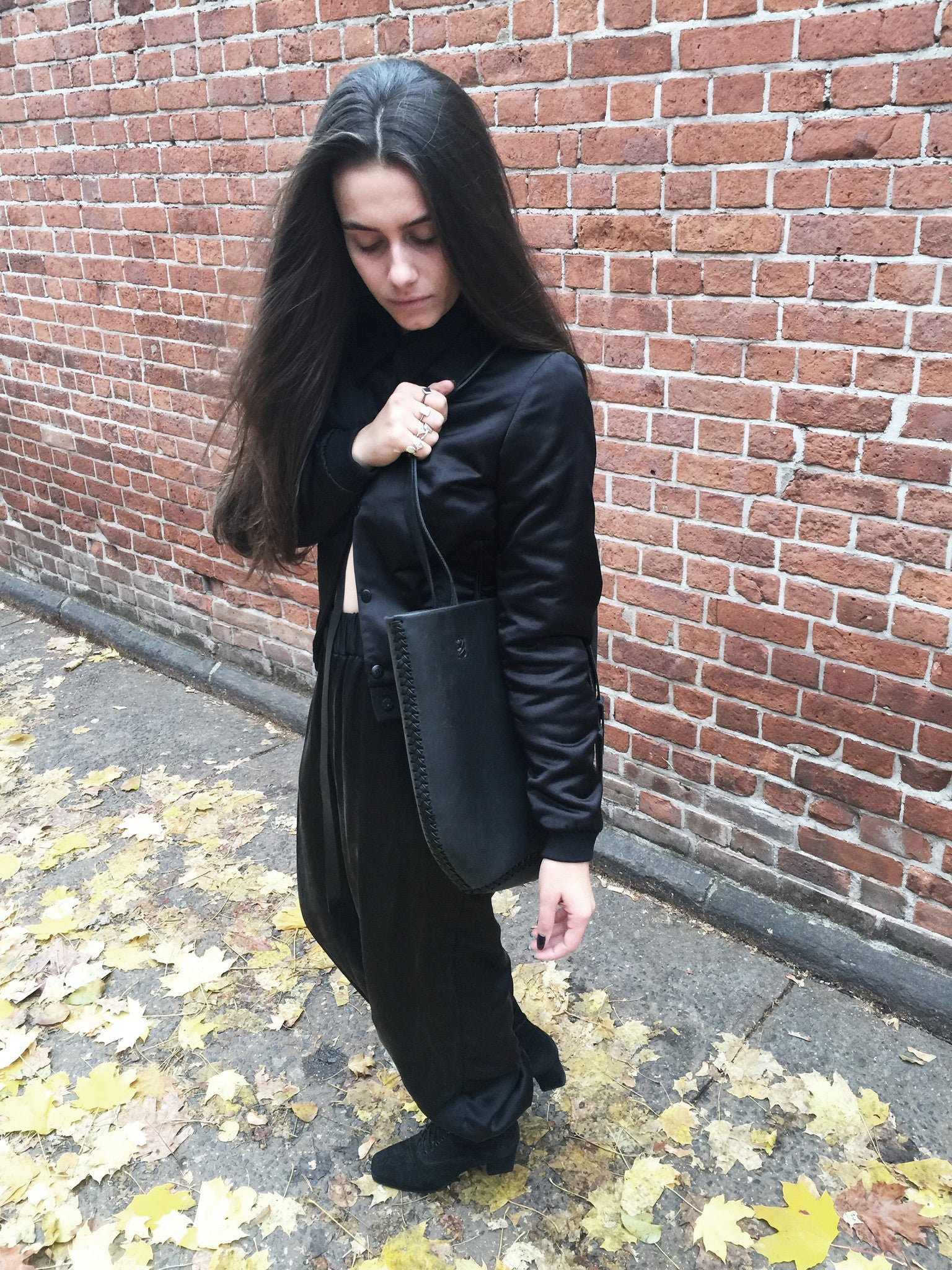 Wendy Nichol Clothing Designer Made to Order Custom Tailoring Made to Measure Handmade in NYC New York City Fashion Runway Show AW16 13 Incarnations Black Silk Satin Club Bomber Jacket Silk Charmeuse Ruche Ankle Pants Rayon Wool Interlining Warm Sweatpants High Waist Waisted