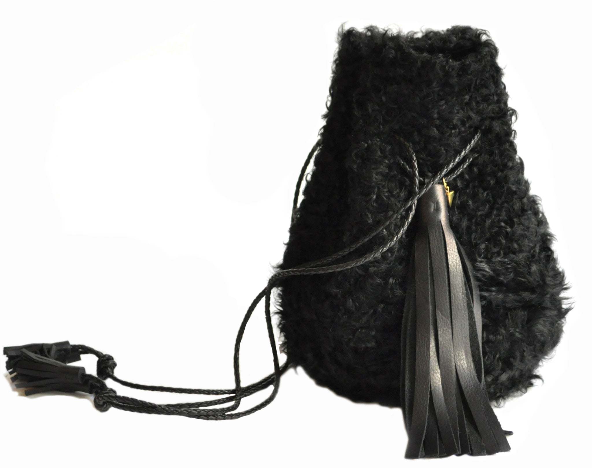 Shearling Curl Cow Leather Bullet Bag Wendy Nichol Handbag Purse Designer Handmade in NYC Bucket Bag Fur Furry