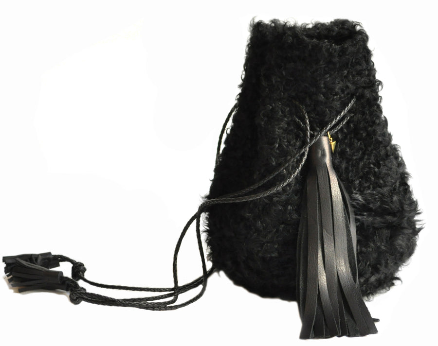 Shearling Curl Cow Leather Bullet Bag Wendy Nichol Handbag Purse Designer Handmade in NYC New York City Bucket Bag Fur Furry Drawstring pouch Large Fringe Tassel Tassels Curly Fur Furry Bucket