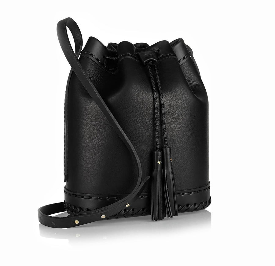 Black  Leather Small Carriage Bag Wendy Nichol Handbag Purse Designer Handmade in NYC New York City Bucket Bag Drawstring Draw string Pouch small fringe tassel Adjustable Durable Strap High Quality Leather