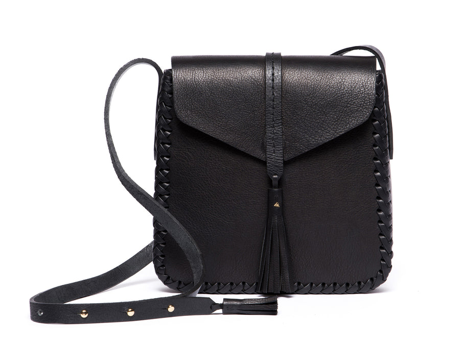 Black Leather Classic Saddle Envelope Flap Closure Bag Wendy Nichol Handbag Purse Designer Handmade in NYC New York City Cross Body Adjustable Strap interior pocket Fringe Tassel Tassels Structured Braided Square High Quality Leather