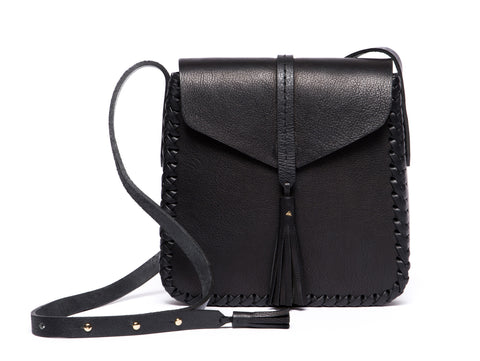 Leather Saddle Flap Bag Wendy Nichol cross body  Handmade Handbag in NYC black