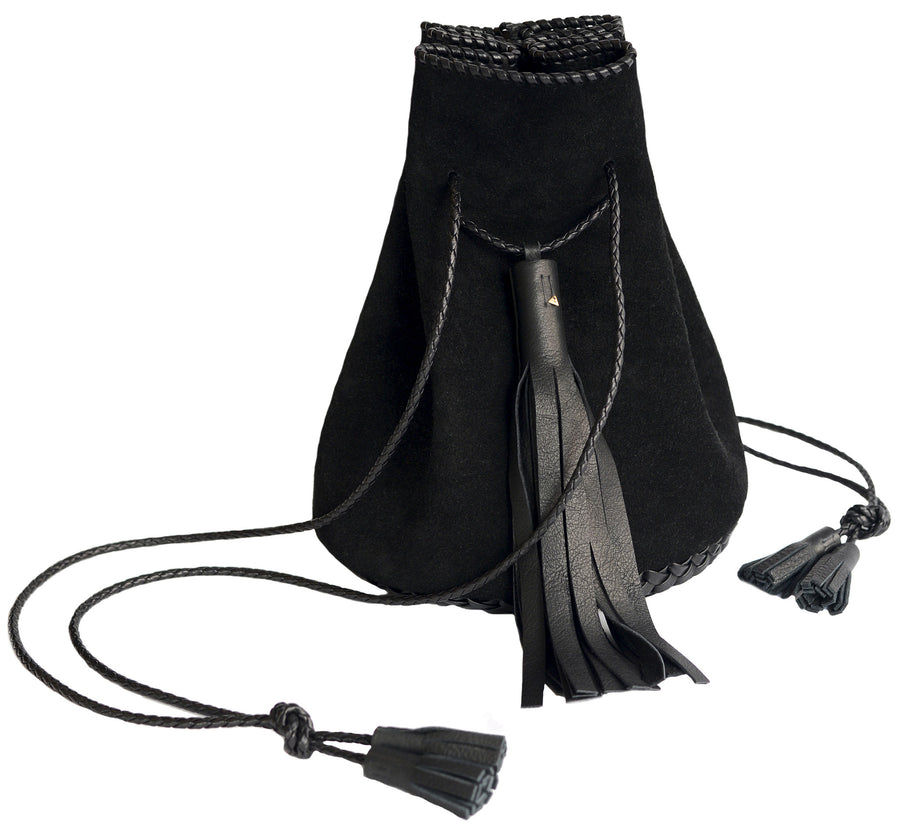 Black Suede Whipstitch Leather Bullet Bag Wendy Nichol Handbag Purse Designer Handmade in NYC New York City Bucket Bag Drawstring Pouch Large Fringe Tassel
