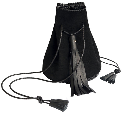 Black Suede Whipstitch Leather Bullet Bag Wendy Nichol Handbag Purse Designer Handmade in NYC Bucket Bag