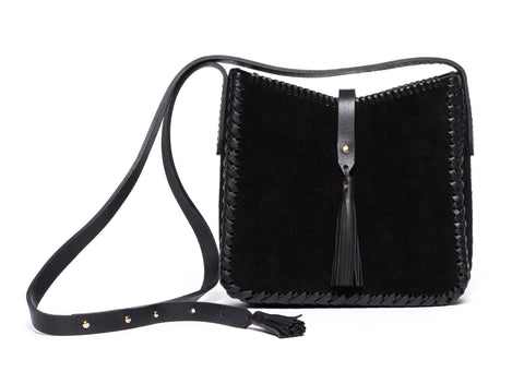 Black Leather Saddle Bag Wendy Nichol Handbag Purse Designer Handmade in NYC New York City black sued Whipstitch V Edge Open Square Structured Braided Adjustable Strap Fringe Tassels Tassel High Quality Leather
