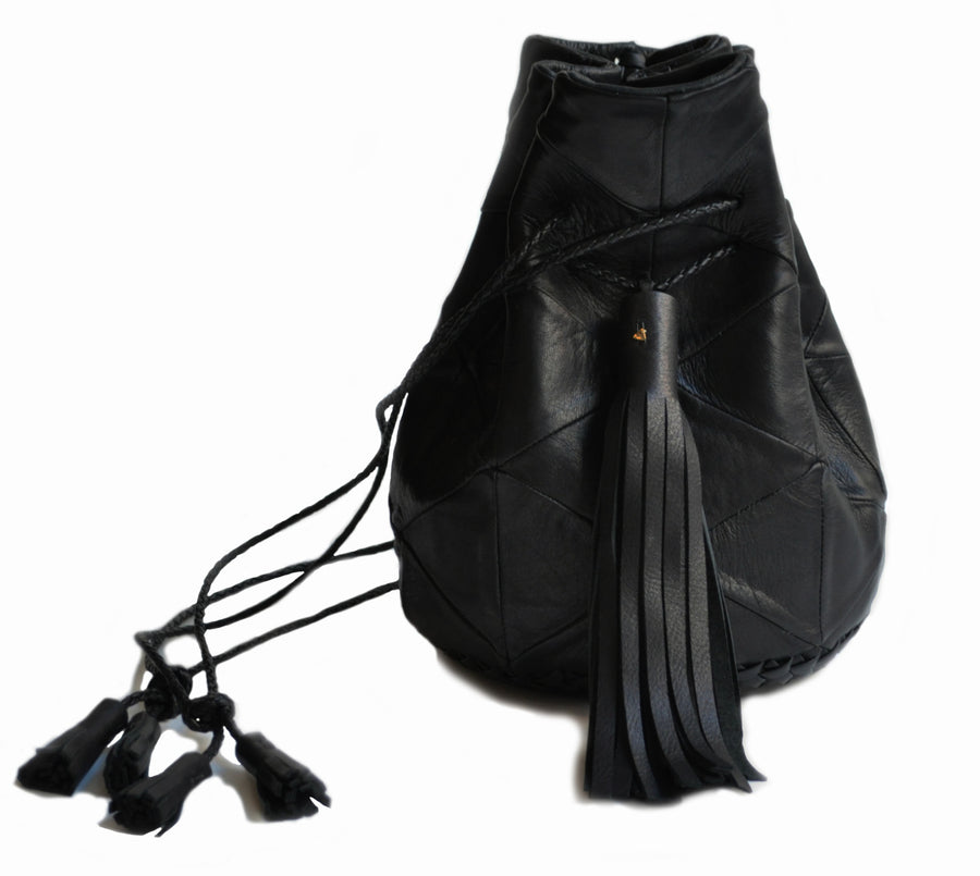 Black Leather Triangle Patchwork Bullet Bag Wendy Nichol Leather Handbag Purse Designer Barneys Barney's Bucket Bag Handmade in NYC New York City High Quality leather Draw String Drawstring Pouch  Large Fringe Tassel Tassels