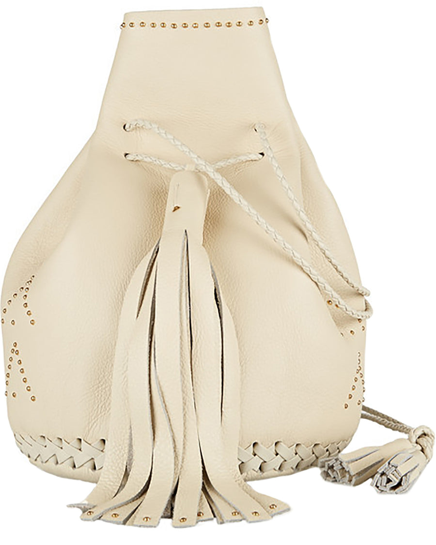 Bone Off White Cream Hand Studded Studs Stud Chevron Leather Bullet Bag Wendy Nichol Handbag Purse Designer Handmade in NYC New York City Bucket Bag Drawstring Pouch Large Fringe Tassel Net-a-porter