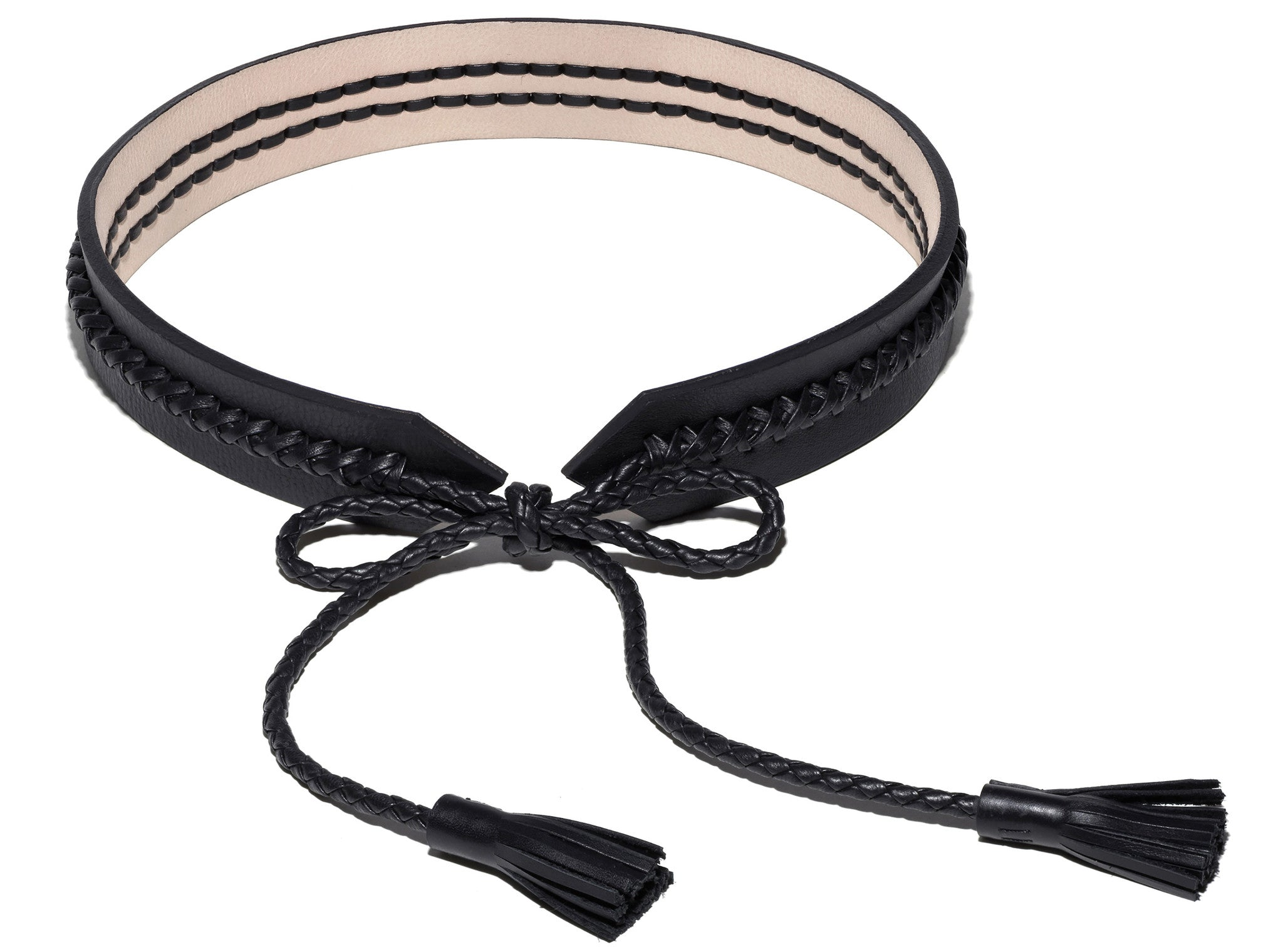 Braided Leather Belt Wendy Nichol Designer Handmade in NYC New York City Braided X Thick Custom black Natural Tan Pink Leather Tassel Bow Belt Bondage S&M Dominatrix