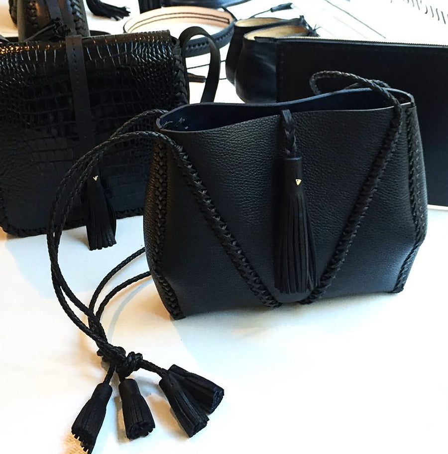 Black  Suede Leather Braided V Bag Wendy Nichol Handbag Purse Designer Handmade in NYC New York City high quality Leather cross body purse Large Fringe Tassel tassels sculpture Triangle V Cross body braided straps