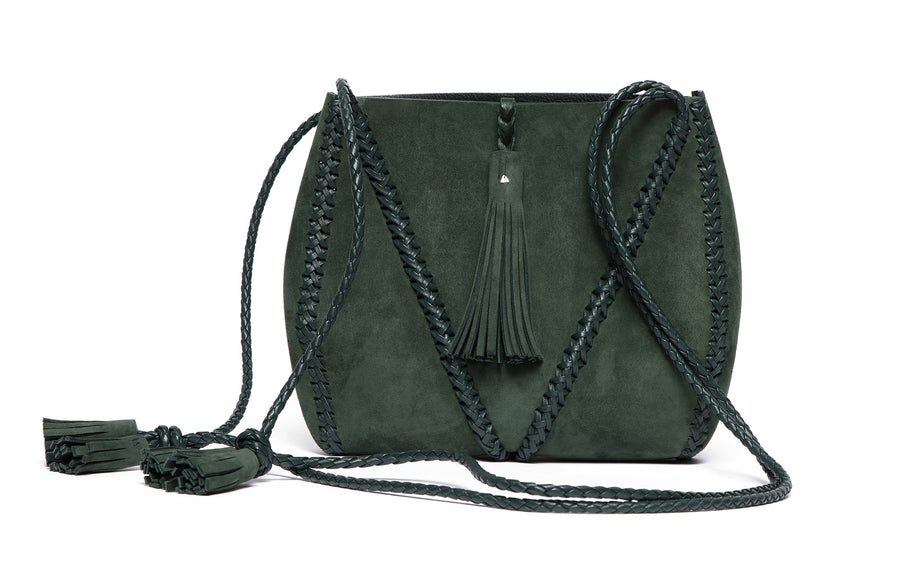 Dark Green Suede Leather Braided V Bag Wendy Nichol Handbag Purse Designer Handmade in NYC New York City high quality Leather cross body purse Large Fringe Tassel tassels sculpture Triangle V Cross body braided straps
