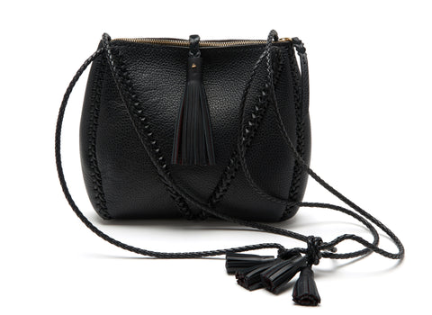 Black Braided V Bag with Zipper Leather Cross Body Wendy Nichol Handbag Purse Designer Handmade in NYC New York City high quality Leather cross body zip zipper purse Large Fringe Tassel tassels sculpture Triangle V Cross body braided straps