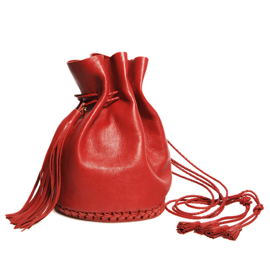 Leather Bright Red Signature Classic Bullet Bag Wendy Nichol Handmade in NYC New York City Leather Drawstring Bucket Pouch Purse Handbag Large Fringe Tassel Custom Made to Order