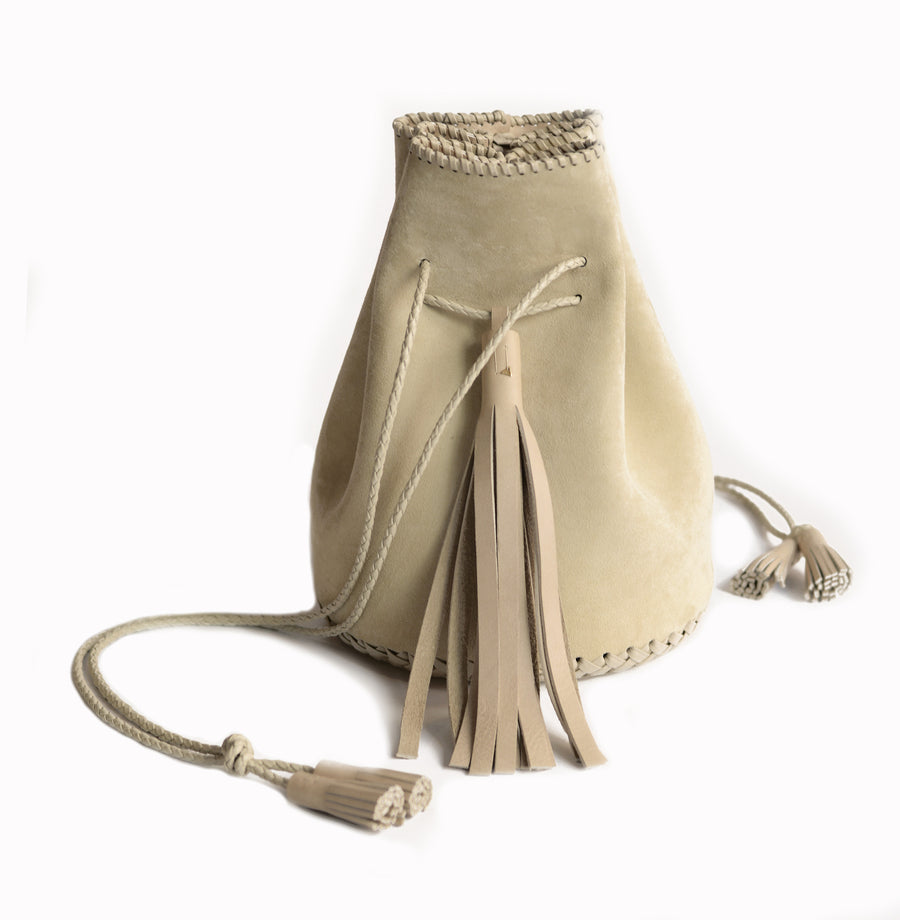 Creme Cream Off White Suede Whipstitch Leather Bullet Bag Wendy Nichol Handbag Purse Designer Handmade in NYC New York City Bucket Bag Drawstring Pouch Large Fringe Tassel