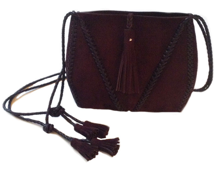 Burgundy Maroon Ox Blood  Suede Leather Braided V Bag Wendy Nichol Handbag Purse Designer Handmade in NYC New York City high quality Leather cross body purse Large Fringe Tassel tassels sculpture Triangle V Cross body braided straps