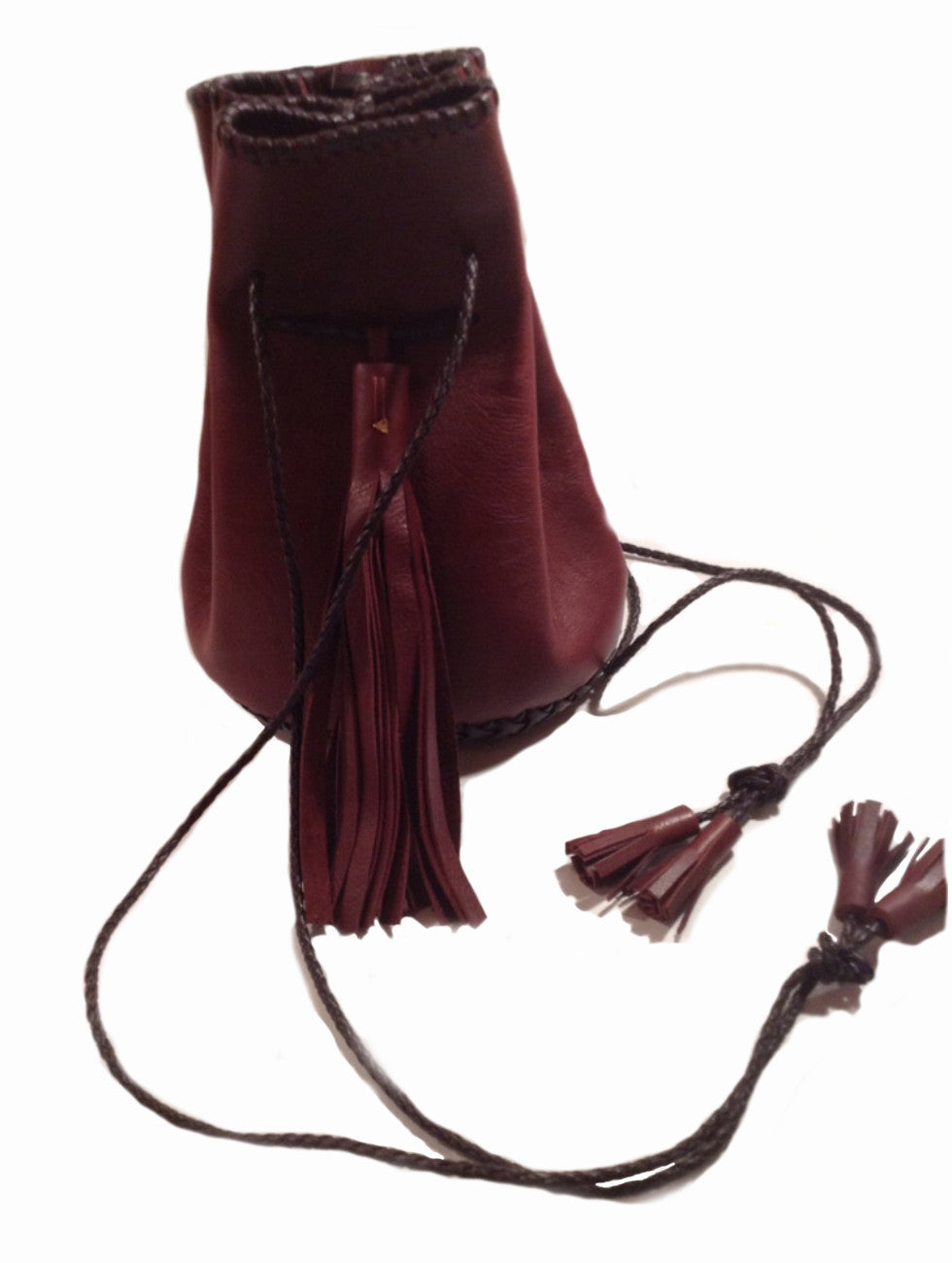 Burgundy Ox Blood Maroon Leather Whipstitch Bullet Bag Wendy Nichol Handmade in NYC Leather Bucket Handbag Burgundy Maroon