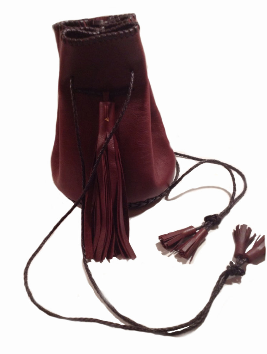 Burgundy Ox Blood Maroon Leather Leather Whipstitch Bullet Bag Wendy Nichol Designer Purse Handbag Handmade in NYC New York City Leather Fringe Tassel Drawstring Bucket Pouch Boho Handbag