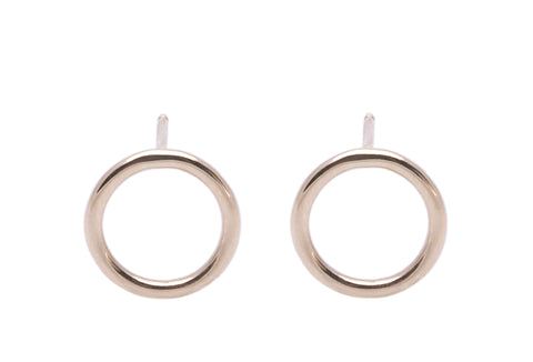 Open Circle Outline Studs Earrings Wendy Nichol Fine Jewelry Designer Handmade in NYC New York City solid 14k Gold Yellow Rose White Cut Out outline Circle First Second Ear Hole Piercing Lower Lobe Upper Lobe Helix Cartilage