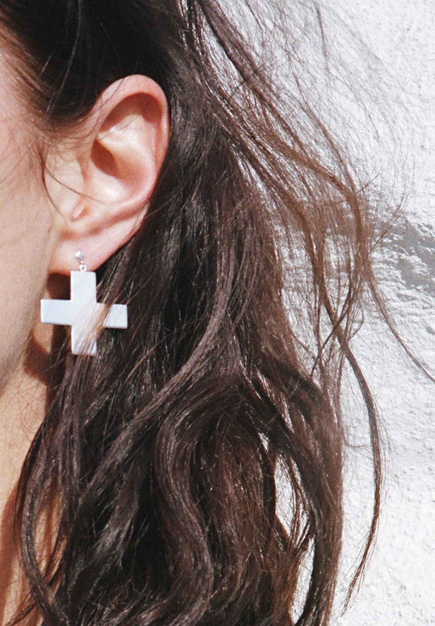 Positive Cross Dangle Stud Earring