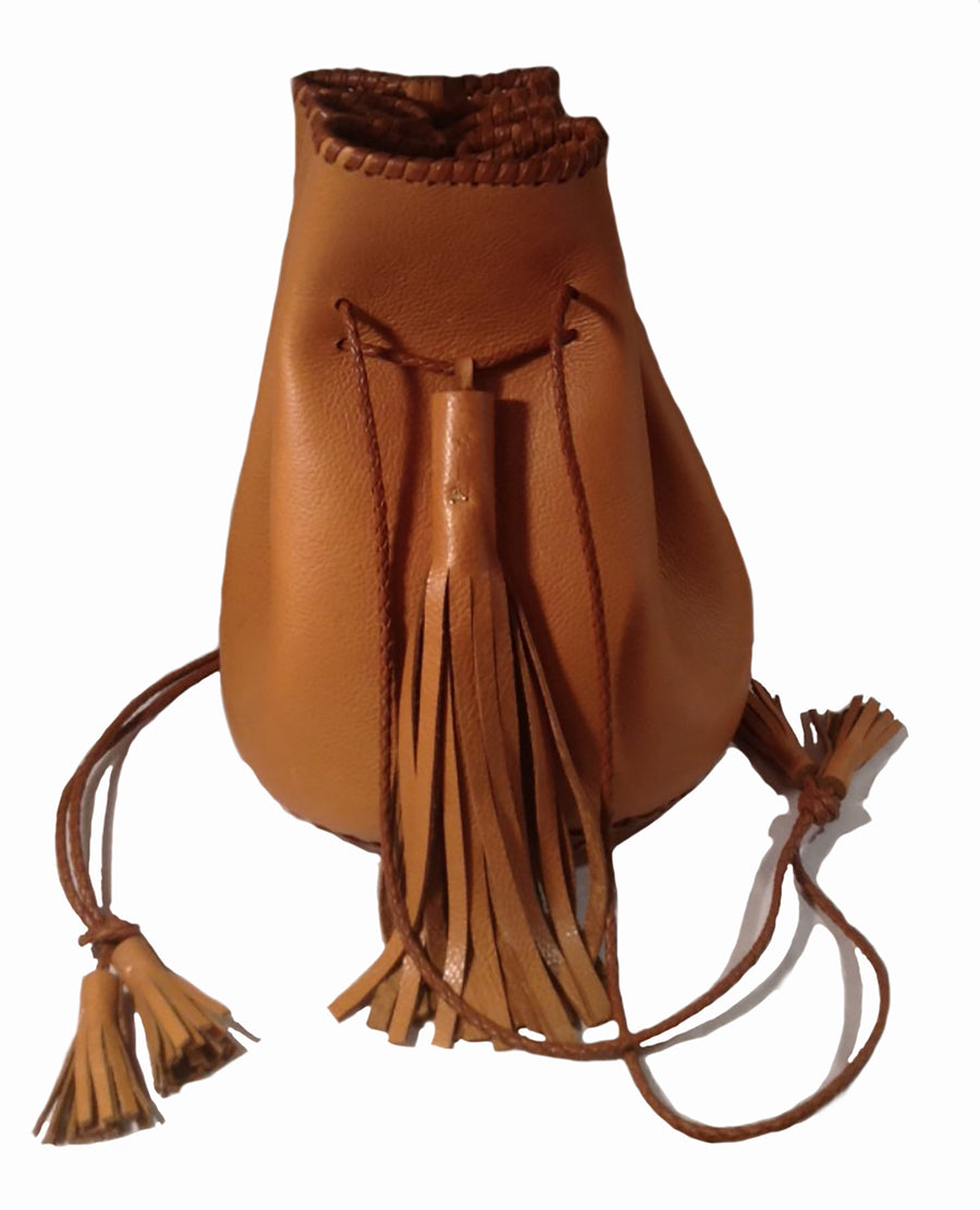 Canyon Light Carmel Brown Tan Leather Whipstitch Bullet Bag Wendy Nichol Designer Purse Handbag Handmade in NYC New York City Leather Fringe Tassel Drawstring Bucket Pouch Boho Handbag