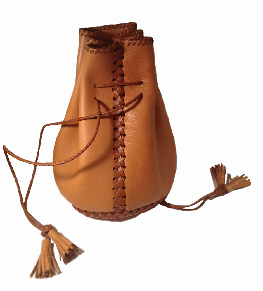 Canyon Carmel Light Brown Tan Leather Whipstitch Bullet Bag Wendy Nichol Designer Purse Handbag Handmade in NYC New York City Leather Fringe Tassel Drawstring Bucket Pouch Boho Handbag