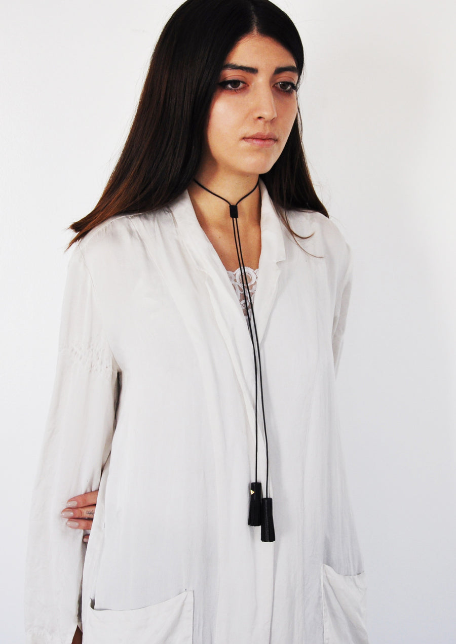 Leather Bolo Tassel Necklace Wendy Nichol Fine Jewelry Designer Barneys Barney's Handmade in NYC New York City Leather Tassel Necktie Tie Bolo Lariat Necklace Choker